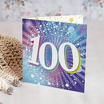 Carte Invitation Anniversaire 100 Ans 100 Ans Disco Vernis 3d Double Volets Echantillon Offert Carteland