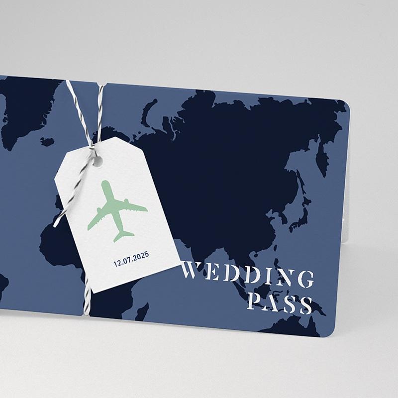 Faire-Part Mariage Voyage Blue Wedding Pass pas cher