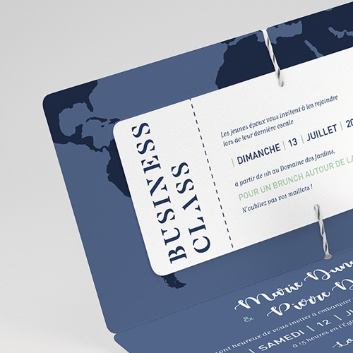 Faire-Part Mariage Voyage Blue Wedding Pass gratuit