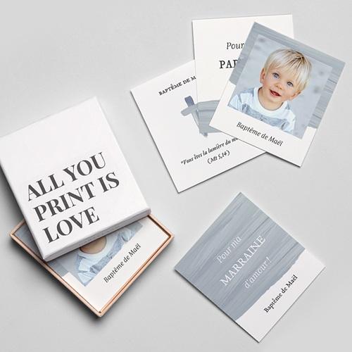 Carte Remerciement Baptême Originale Pinceau Bleu gratuit
