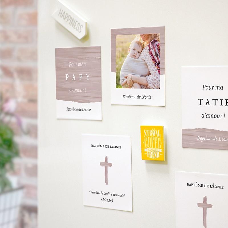 Carte Remerciement Baptême Fille Pinceau Rose pas cher