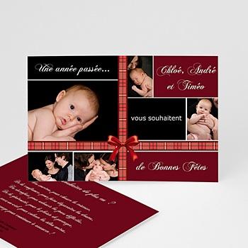 Carte Bonne Année Ruban Rouge de Noel personnalisable