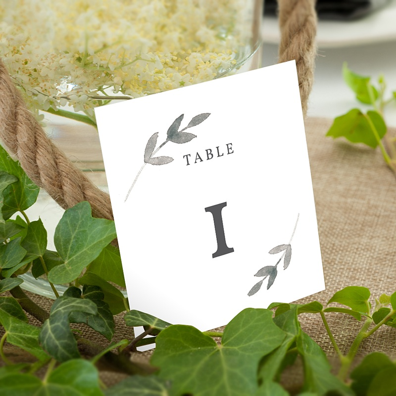 Marque Table Mariage Feuillages Vintage