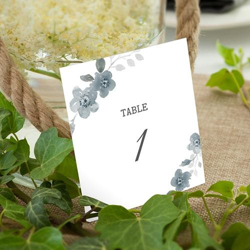 Marque Table Mariage Bleu botanique