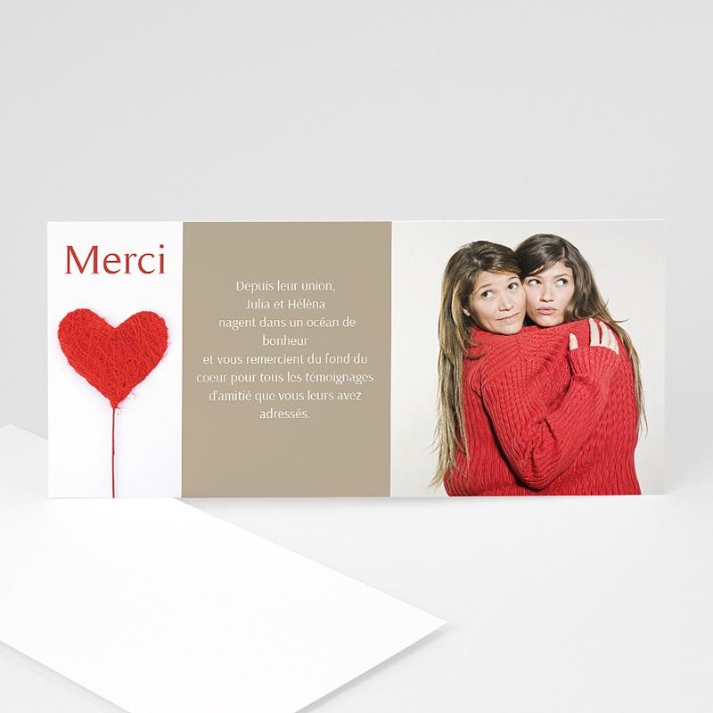 Carte remerciement pacs Merci mon coeur - rouge