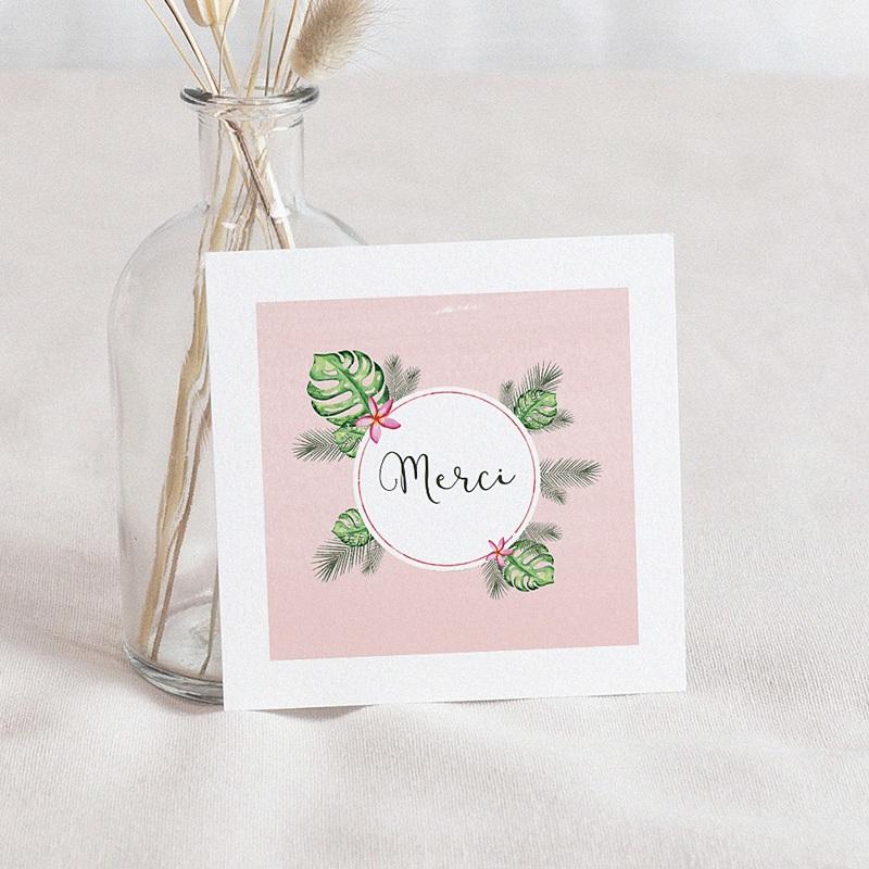 Carte Remerciement Naissance Fille Fleur des tropiques, carré simple, 10 x 10