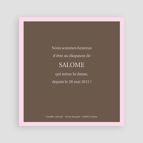 Faire-Part Naissance Fille - Marie - Rose et Marron 8427 preview