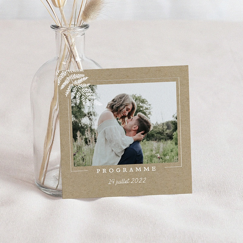 Carte Invitation Mariage Elégantes Fougères, Photo, Kraft