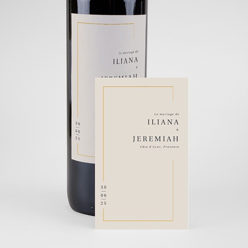 Étiquette bouteille mariage vin Cadre Or pas cher