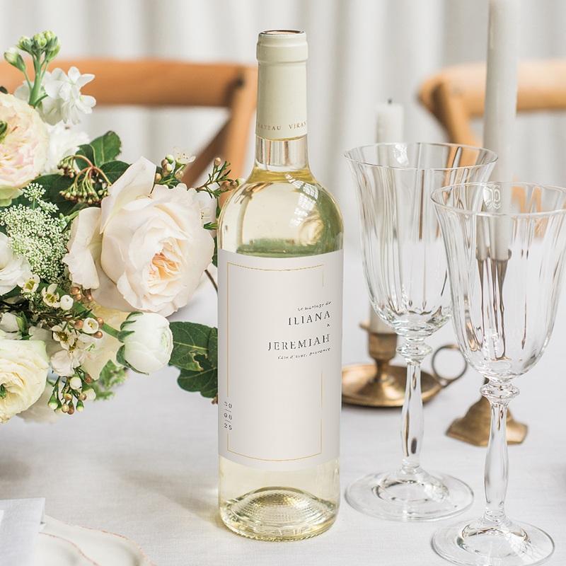 Étiquette bouteille mariage vin Cadre Or