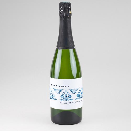 Etiquette Bouteille Champagne Azulejos Bleus