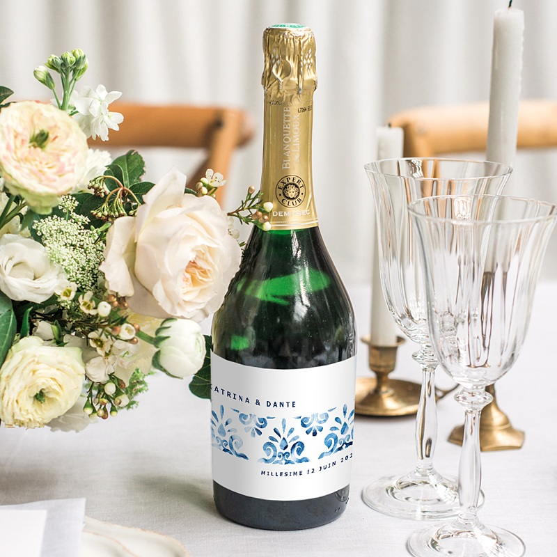 Etiquette Bouteille Champagne Azulejos Bleus gratuit