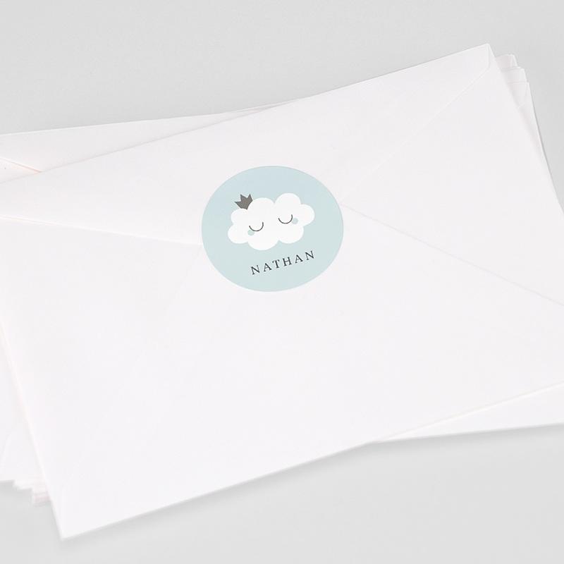 Etiquette Autocollante Naissance Liittle Cloud Blue, 4,5 cm