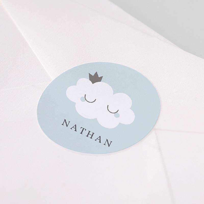 Etiquette Autocollante Naissance Liittle Cloud Blue, 4,5 cm pas cher