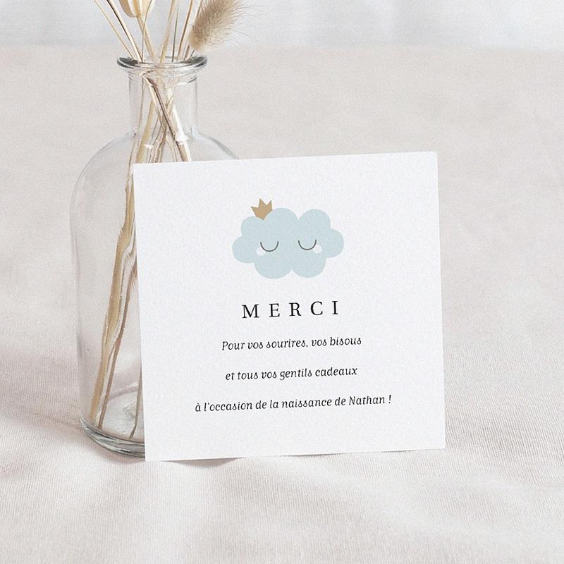Carte Remerciement Naissance Garçon Little Cloud Blue, 10  x 10