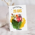 Carte invitation anniversaire 20 ans 20 ans, Cocktail, vernis 3D