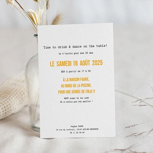 Carte invitation anniversaire 20 ans 20 ans, Cocktail, vernis 3D pas cher