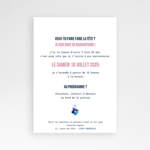 Carte Invitation Anniversaire Adulte 40 ans, cocktail, vernis 3D pas cher