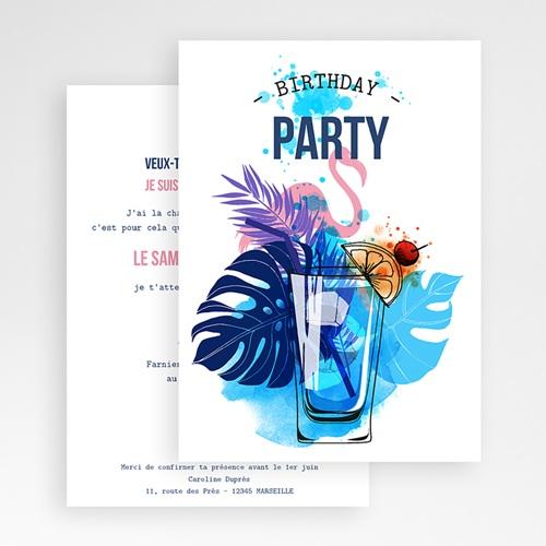 Carte Invitation Anniversaire Adulte 40 ans, cocktail, vernis 3D gratuit