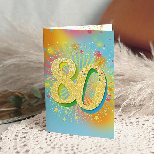 Carte invitation anniversaire 80 ans  Festive, Vernis 3D, 80 ans