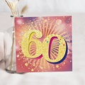 Carte invitation anniversaire 60 ans Festive, 60 ans, Vernis 3D, 14,5 x 15 cm