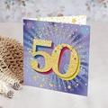 Carte invitation anniversaire 50 ans  Festive, 50 ans, Vernis 3D, Carré double