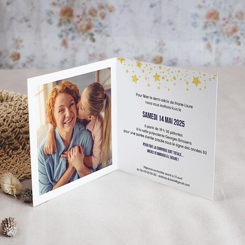 Carte invitation anniversaire 50 ans  Festive, 50 ans, Vernis 3D, Carré double pas cher