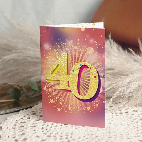 Carte invitation anniversaire 40 ans  Festive, 40 ans, Vernis 3D