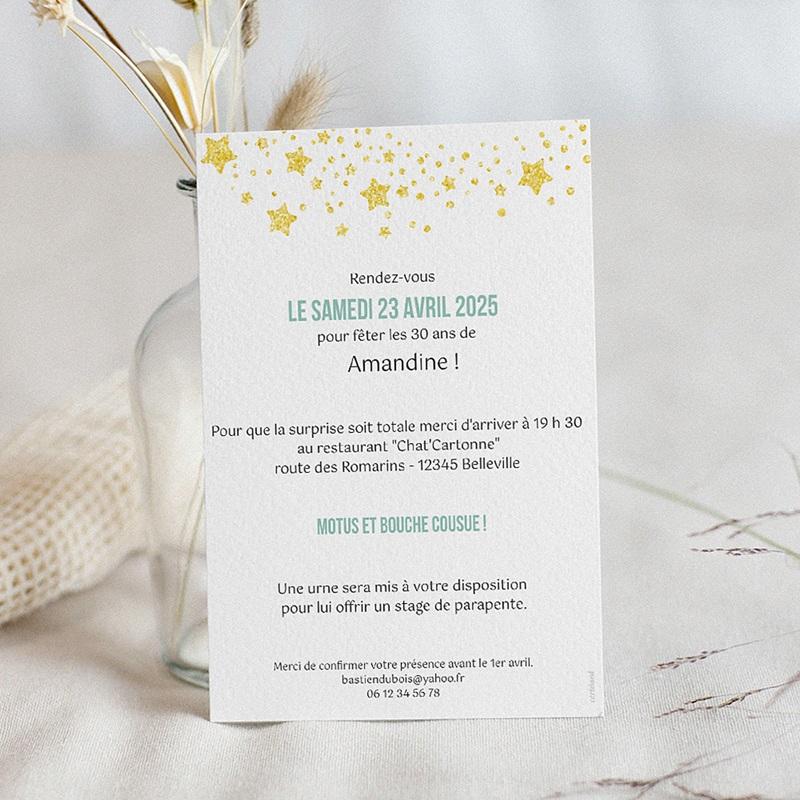 Carte invitation anniversaire 30 ans 30 ans, Festive, Vernis 3D pas cher