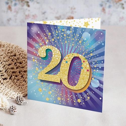 Carte invitation anniversaire 20 ans 20 ans, Festive, Vernis, carré double | Echantillon offert ...