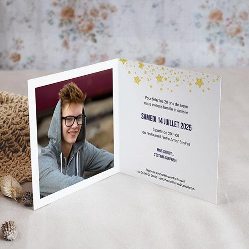 Carte invitation anniversaire 20 ans 20 ans, Festive, Vernis, carré double pas cher
