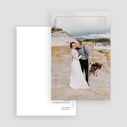 Carte Remerciement Mariage Photo Cadre Or, Photo, 10 x 15 gratuit