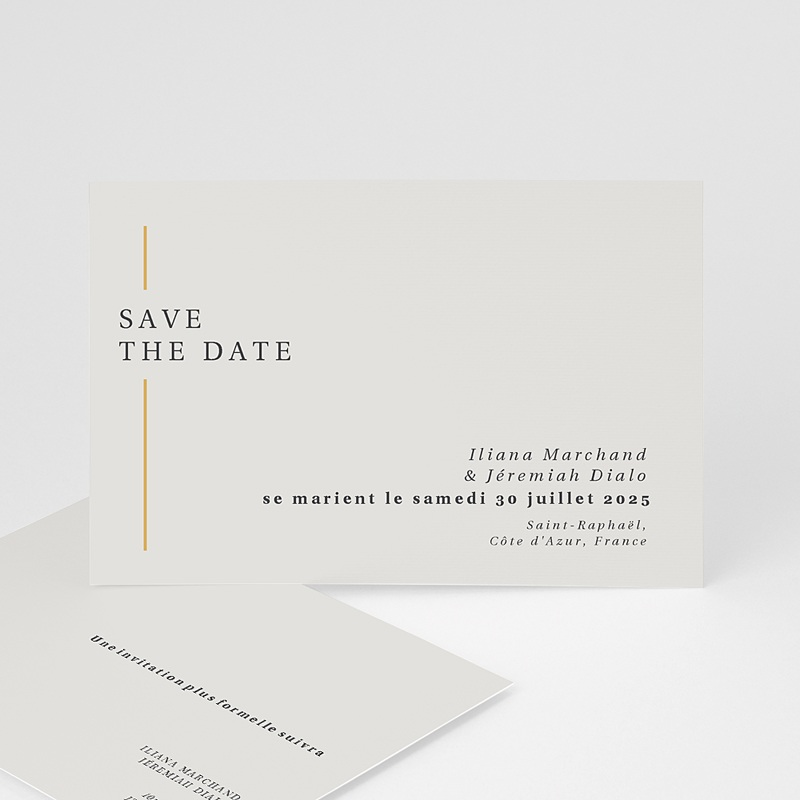 Save The Date Mariage Cadre Or