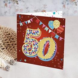 Carte Invitation Anniversaire Adulte - Cirque, 50 ans, Vernis 3D, double volets 84615