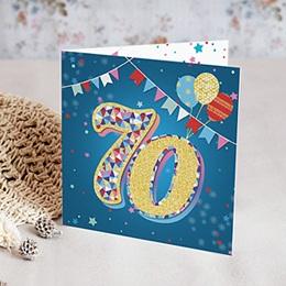 Toutes les Invitations Anniversaire Adulte - Cirque, 70 ans, Vernis 3D, carré double - 0