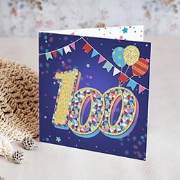 Carte Invitation Anniversaire Adulte - Cirque, 100 ans, Vernis, Carré double 84633