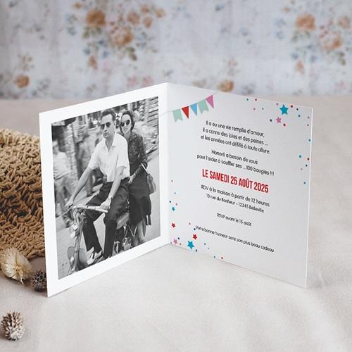 Carte Invitation Anniversaire Adulte Cirque, 100 ans, Vernis, Carré double pas cher