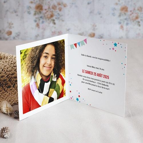 Carte Invitation Anniversaire Adulte Cirque, Vernis, 18 ans, doubles volets pas cher