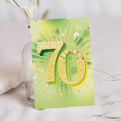 Carte invitation anniversaire 70 ans Vernis 3D, 70 ans, 12 x 16,7 cm