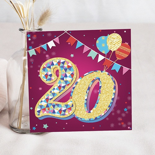 Carte invitation anniversaire 20 ans Cirque, Vernis 3D, 20 ans, Carré