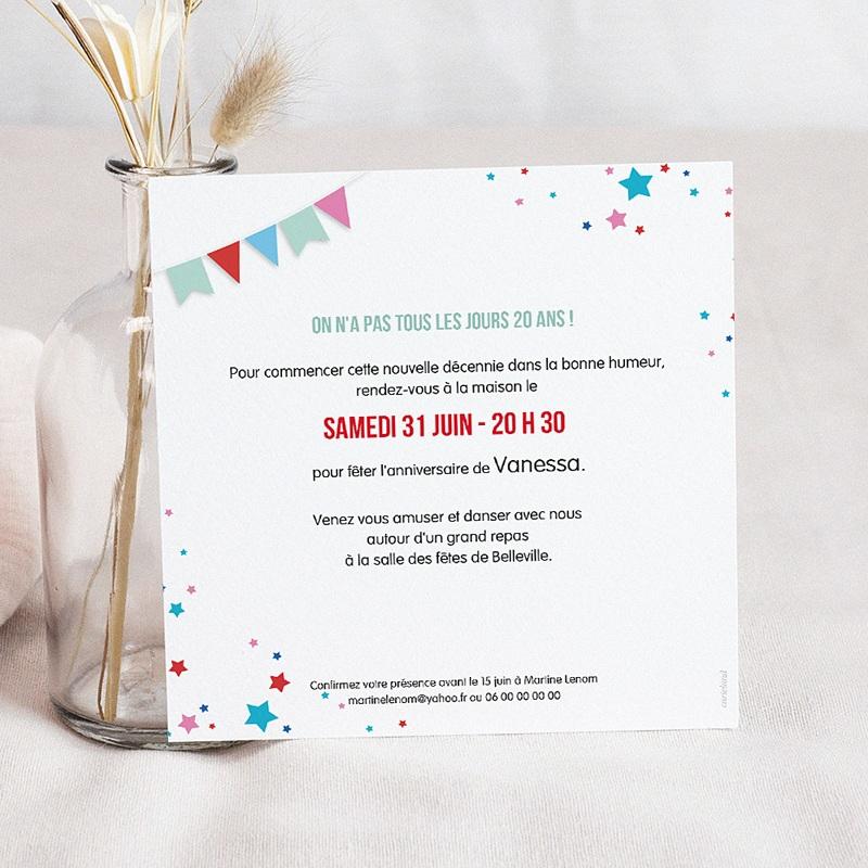 Carte invitation anniversaire 20 ans Cirque, Vernis 3D, 20 ans, Carré pas cher