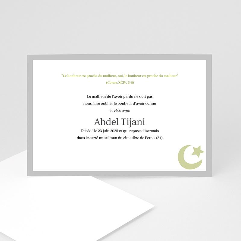 Carte remerciement décès musulman Dhakkir - Vert