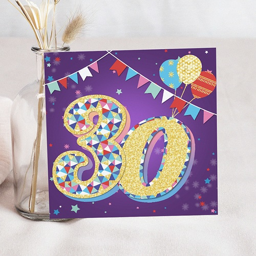 Carte invitation anniversaire 30 ans Cirque, Vernis 3D, 30 ans