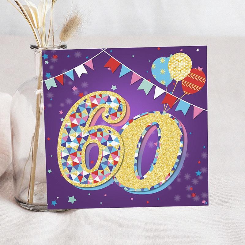 Carte invitation anniversaire 60 ans Cirque, 60 ans, Vernis 3D, carré simple