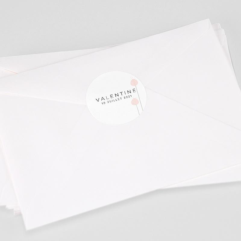 Etiquette Autocollante Naissance Boutons Roses, 4,5 cm