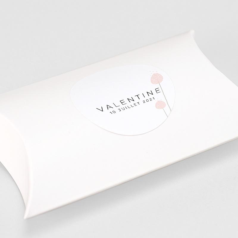 Etiquette Autocollante Naissance Boutons Roses, 4,5 cm gratuit