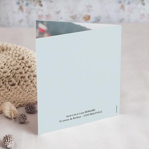 Faire-Part Baptême Fille Médaillon fleuri, gris bleu, 14 x 14 gratuit