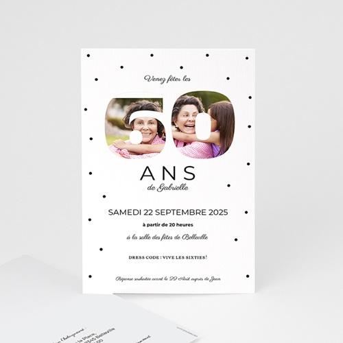 Carte invitation anniversaire 60 ans Chiffres 60 et +, 10 x 15 cm