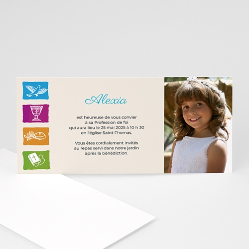 Faire-part Communion Fille - Couleurs de ma foi  8486 thumb