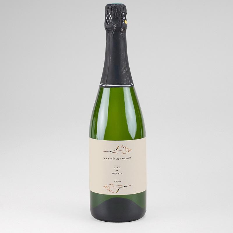 Etiquette Bouteille Champagne Jolies Brindilles, 13 x 8 cm